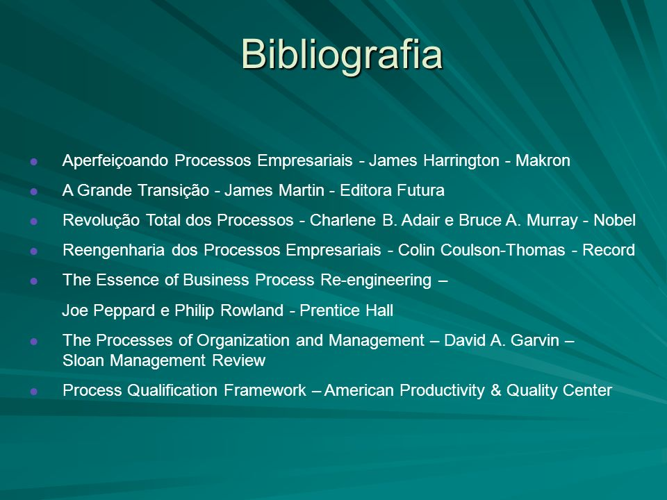 Bibliografia Aperfeiçoando Processos Empresariais - James Harrington - Makron. A Grande Transição - James Martin - Editora Futura.