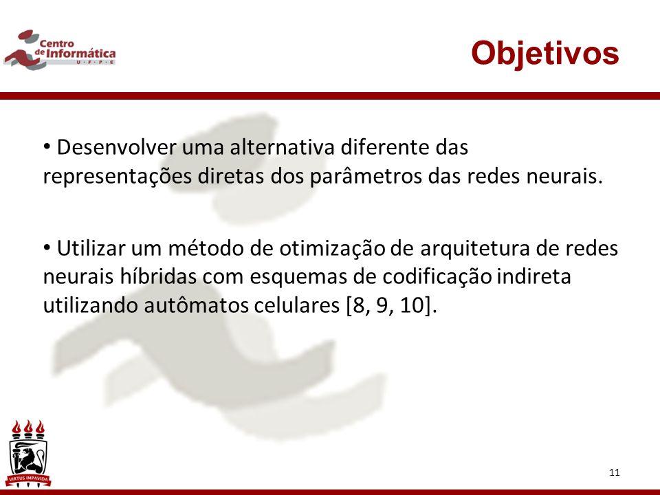 04/09/09 Objetivos. Desenvolver uma alternativa diferente das representações diretas dos parâmetros das redes neurais.