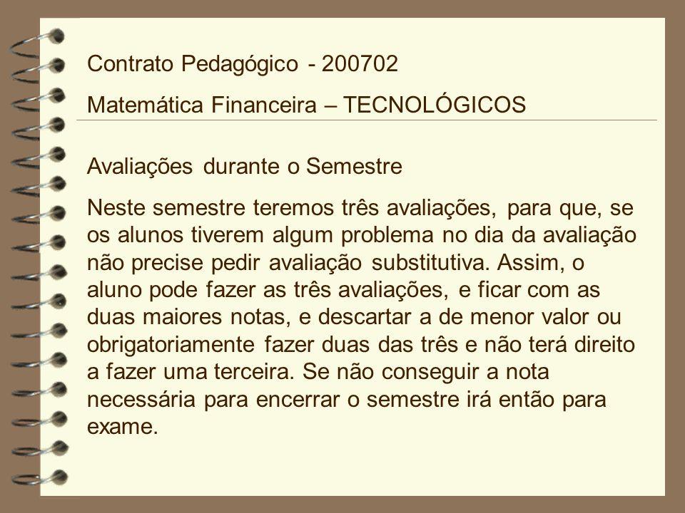 Contrato Pedagógico - 200702 Matemática Financeira – TECNOLÓGICOS. Avaliações durante o Semestre.