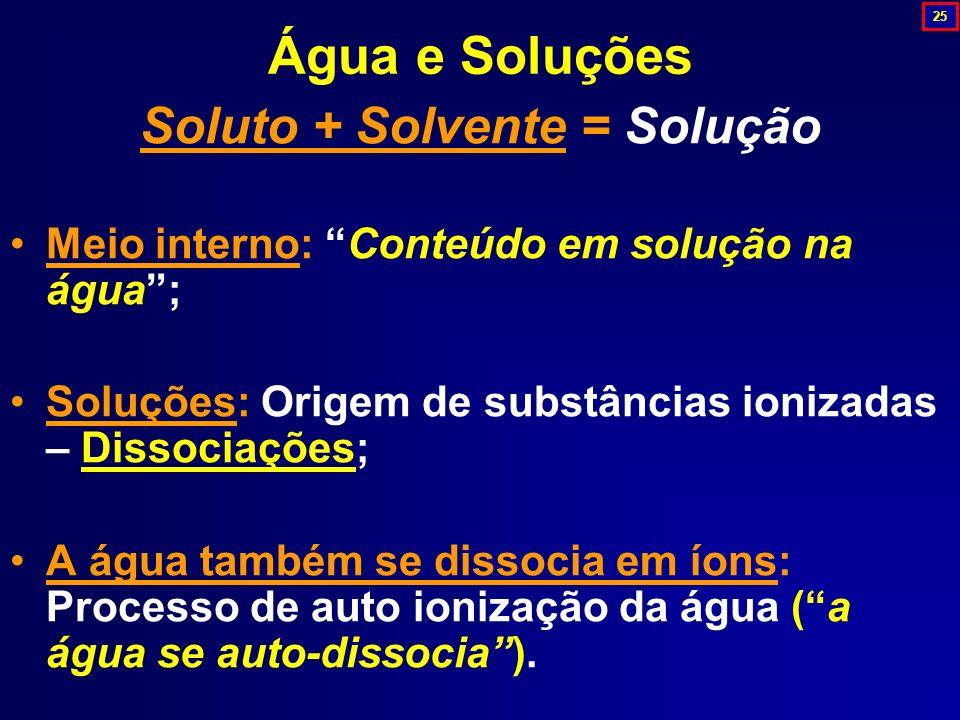 Soluto + Solvente = Solução