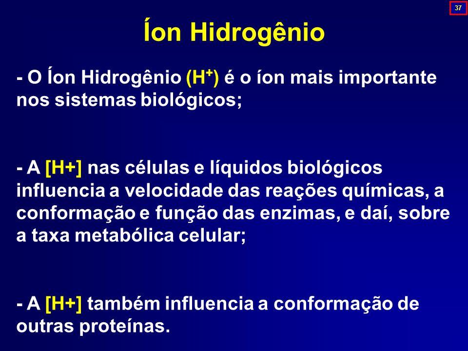 37 Íon Hidrogênio. - O Íon Hidrogênio (H+) é o íon mais importante nos sistemas biológicos;