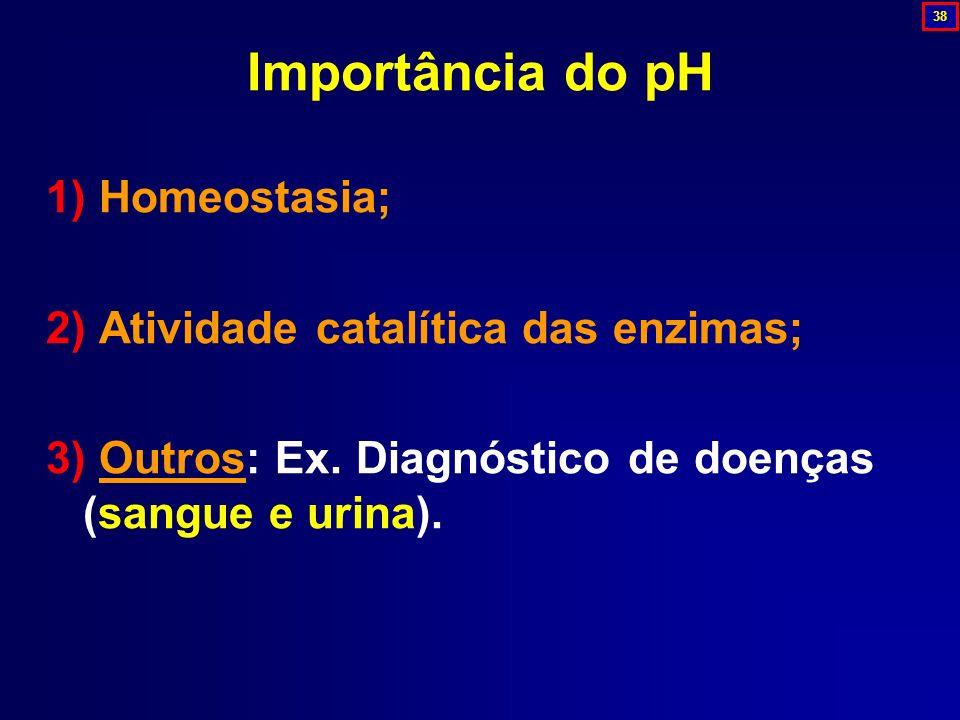 Importância do pH 1) Homeostasia; 2) Atividade catalítica das enzimas;