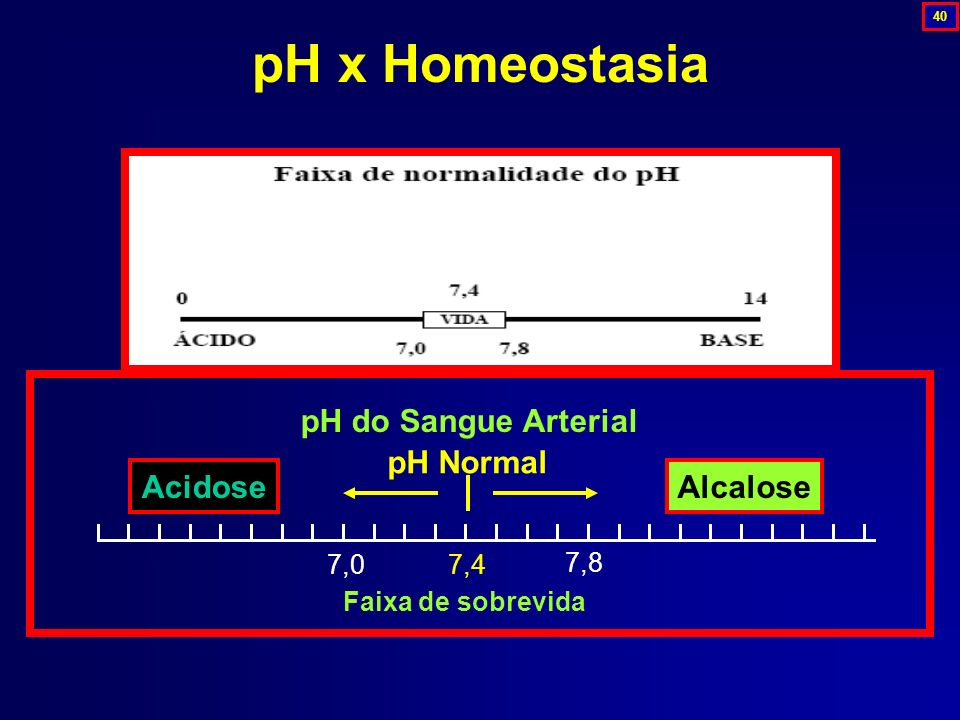 pH x Homeostasia pH do Sangue Arterial Acidose Alcalose pH Normal 7,4
