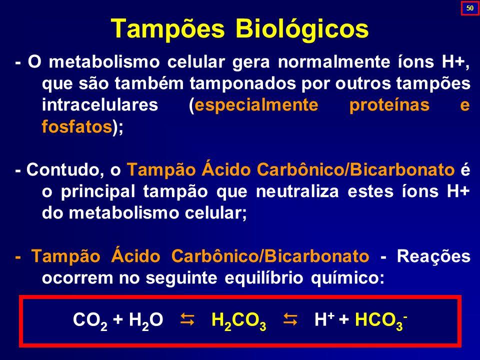 Tampões Biológicos CO2 + H2O  H2CO3  H+ + HCO3-