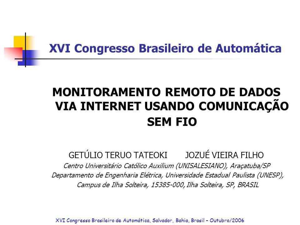 XVI Congresso Brasileiro de Automática