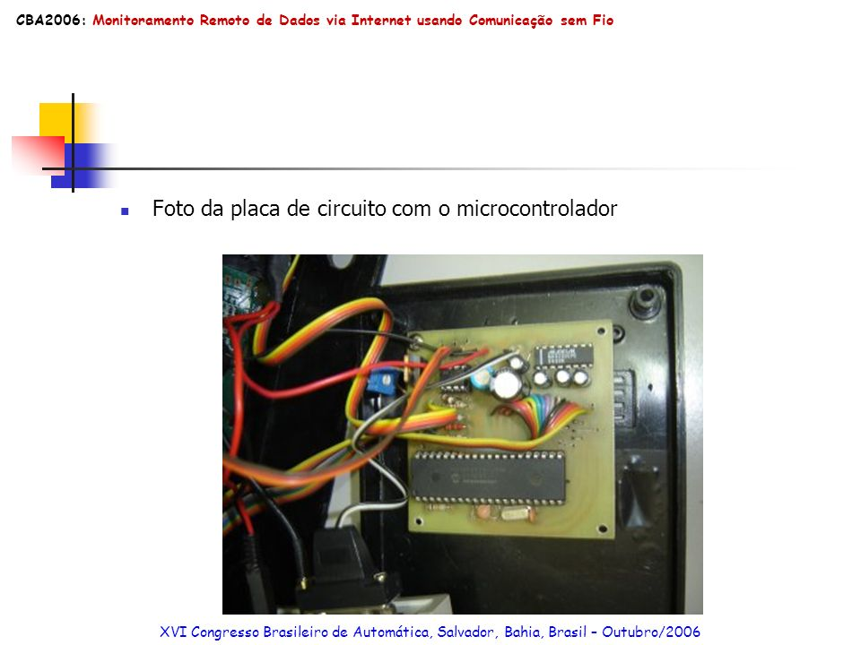 Foto da placa de circuito com o microcontrolador