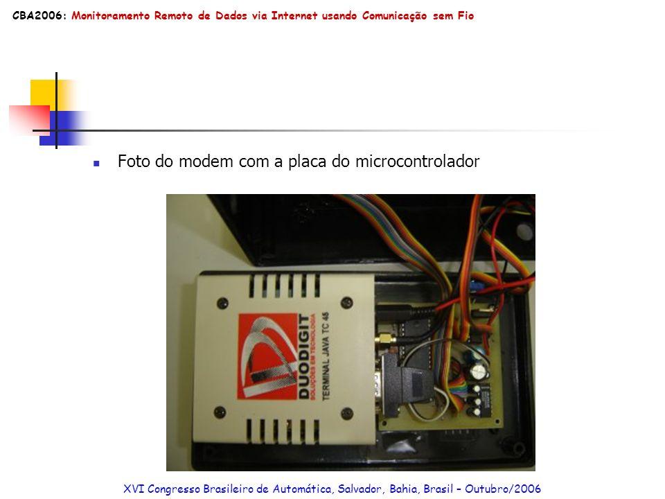 Foto do modem com a placa do microcontrolador
