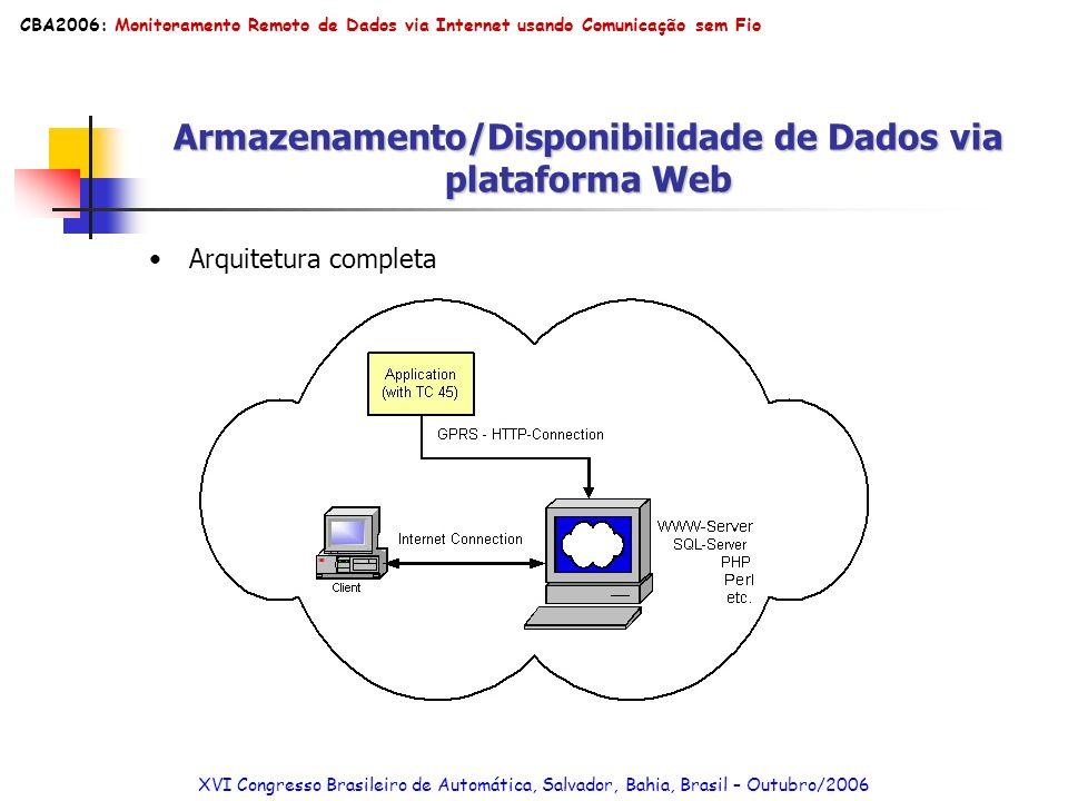 Armazenamento/Disponibilidade de Dados via plataforma Web