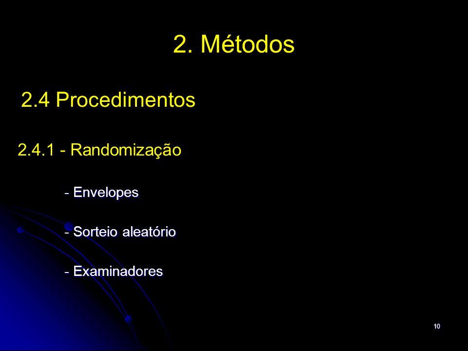 2. Métodos 2.4.1 - Randomização - Sorteio aleatório - Examinadores