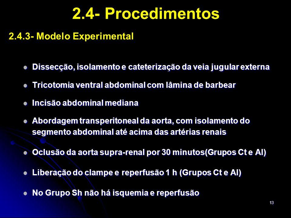 2.4- Procedimentos 2.4.3- Modelo Experimental