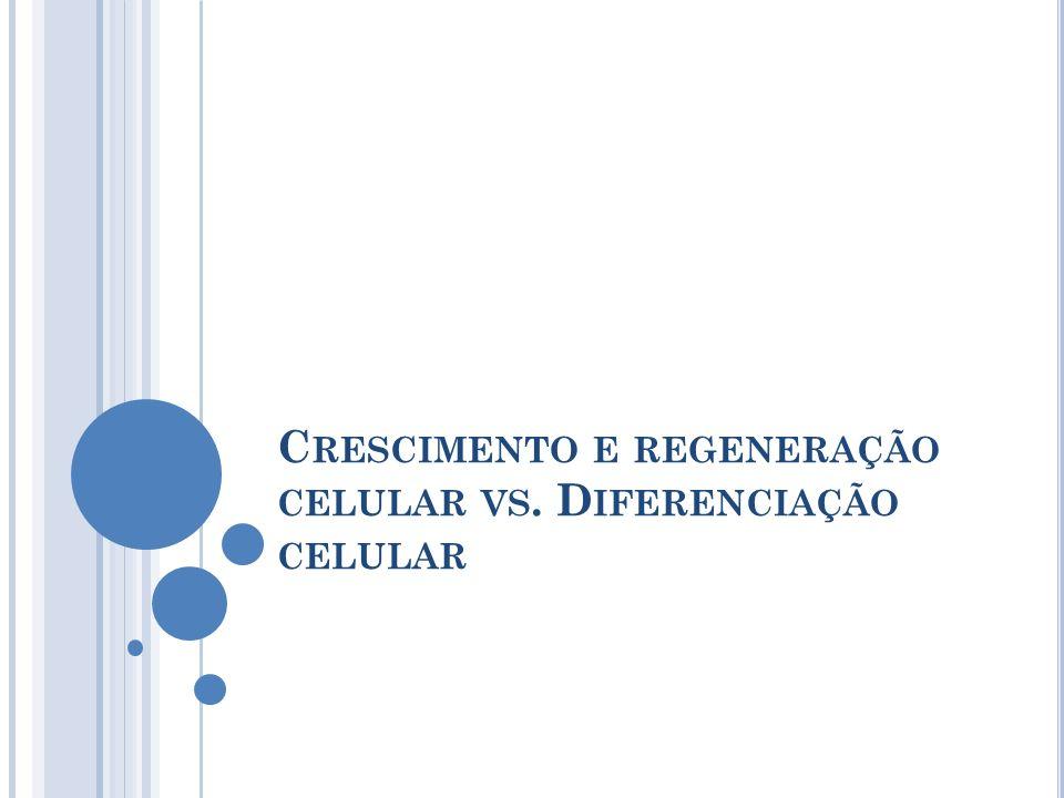 Crescimento e regeneração celular vs. Diferenciação celular
