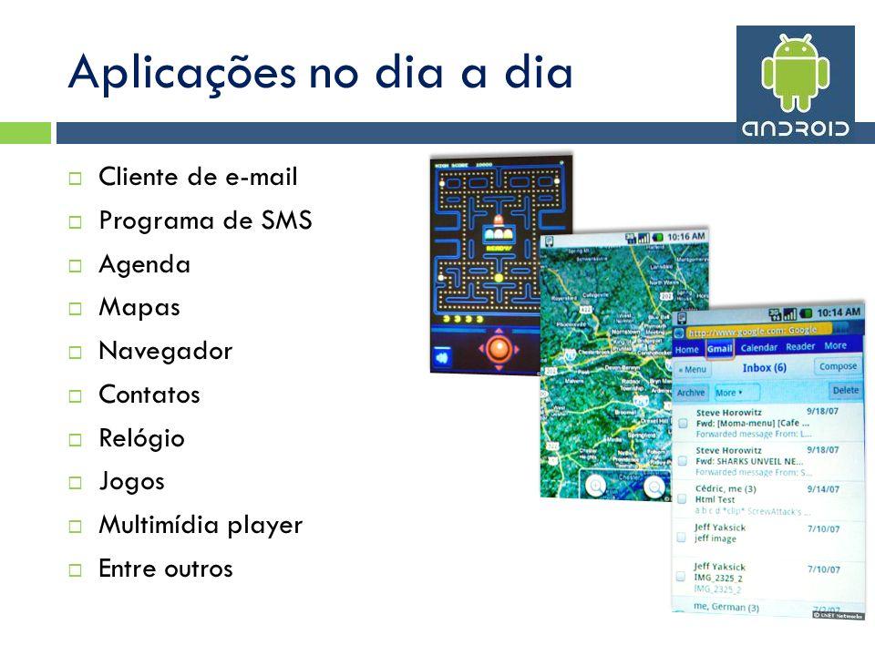 Aplicações no dia a dia Cliente de e-mail Programa de SMS Agenda Mapas