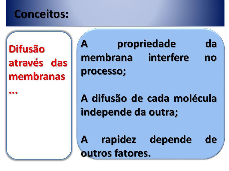Conceitos: A propriedade da membrana interfere no processo;