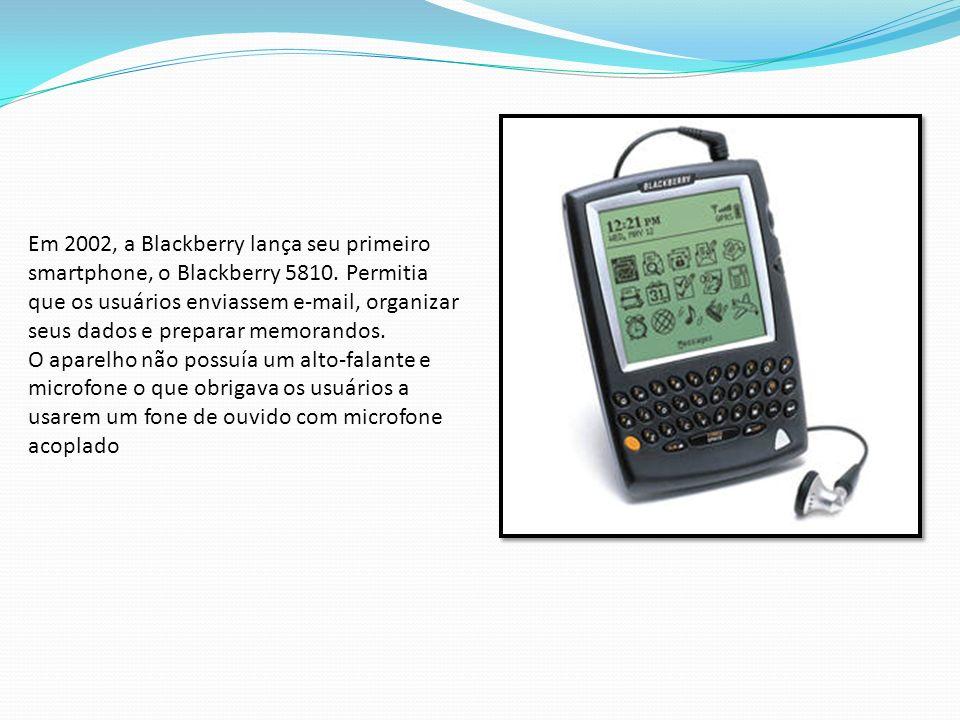 Em 2002, a Blackberry lança seu primeiro smartphone, o Blackberry 5810