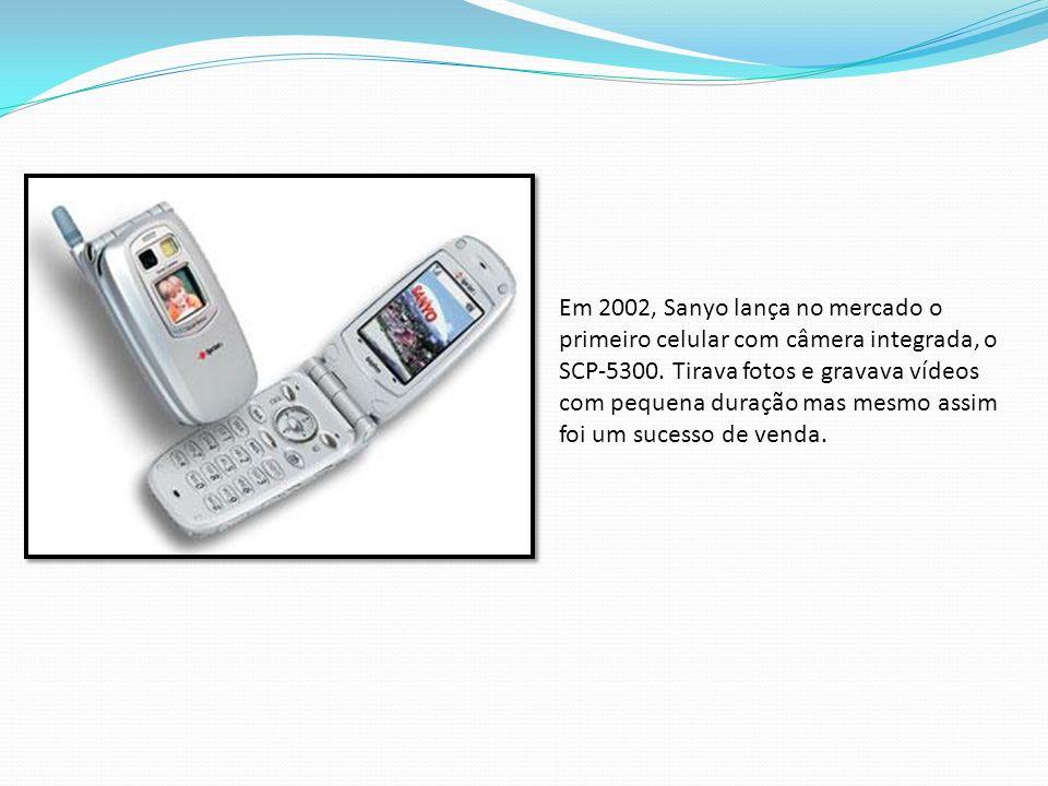 Em 2002, Sanyo lança no mercado o primeiro celular com câmera integrada, o SCP-5300.