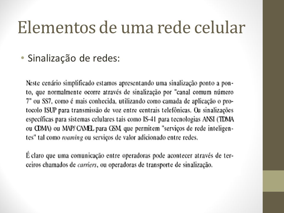 Elementos de uma rede celular