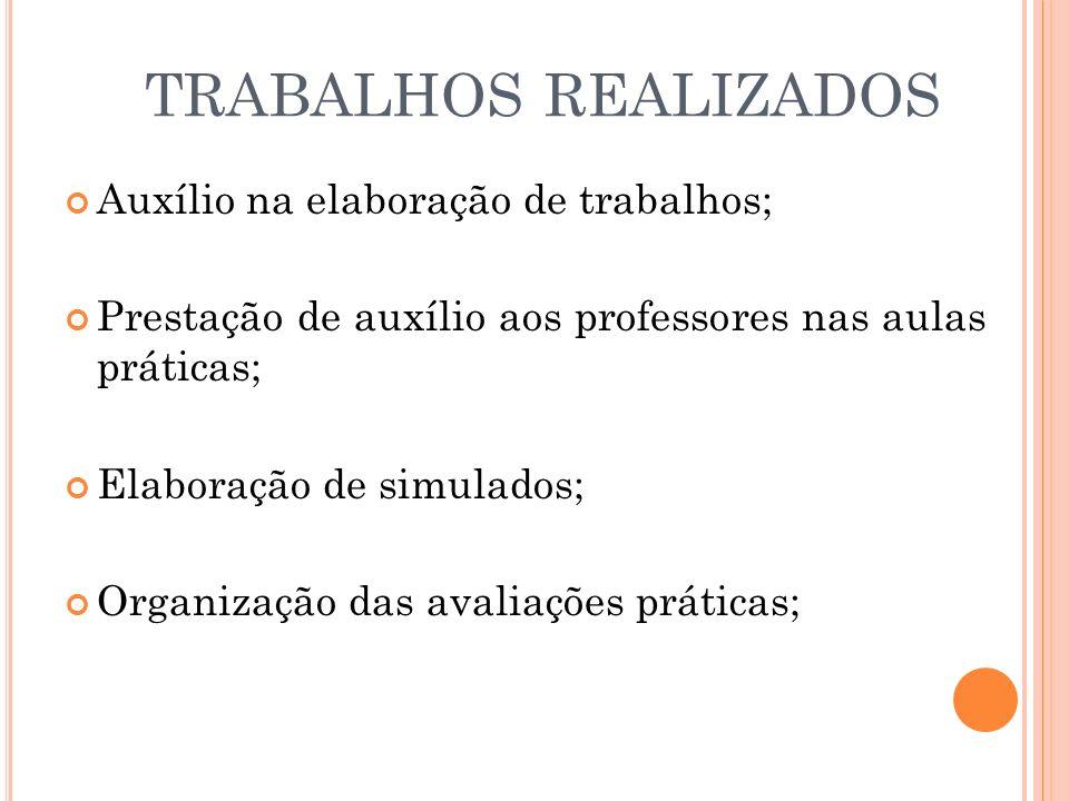 TRABALHOS REALIZADOS Auxílio na elaboração de trabalhos;