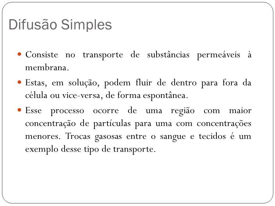 Difusão Simples Consiste no transporte de substâncias permeáveis à membrana.