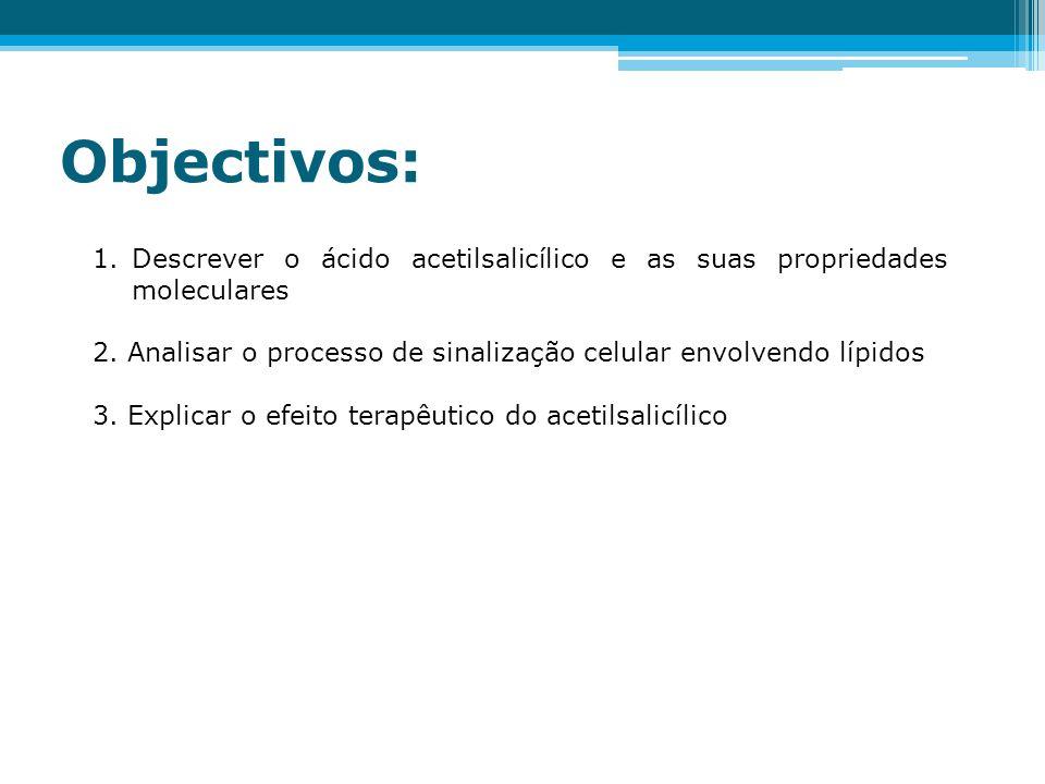 Objectivos: Descrever o ácido acetilsalicílico e as suas propriedades moleculares. 2. Analisar o processo de sinalização celular envolvendo lípidos.
