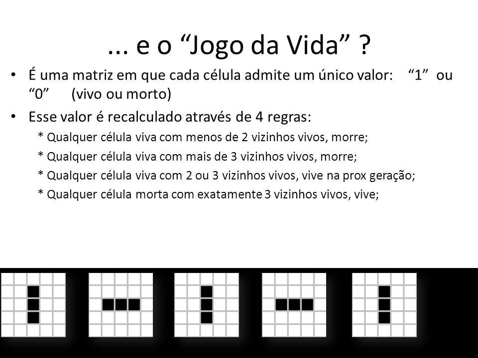 ... e o Jogo da Vida É uma matriz em que cada célula admite um único valor: 1 ou 0 (vivo ou morto)