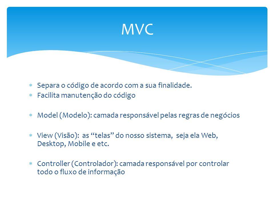 MVC Separa o código de acordo com a sua finalidade.