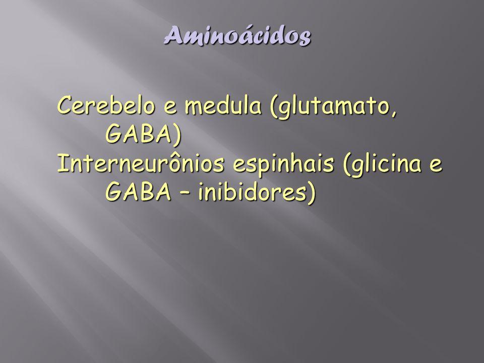 Aminoácidos Cerebelo e medula (glutamato, GABA)