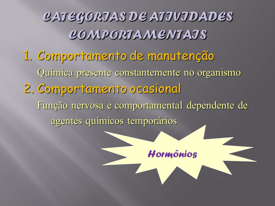 Categorias de atividades comportamentais