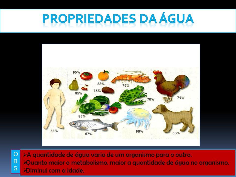 Propriedades da Água O. B. S. A quantidade de água varia de um organismo para o outro.