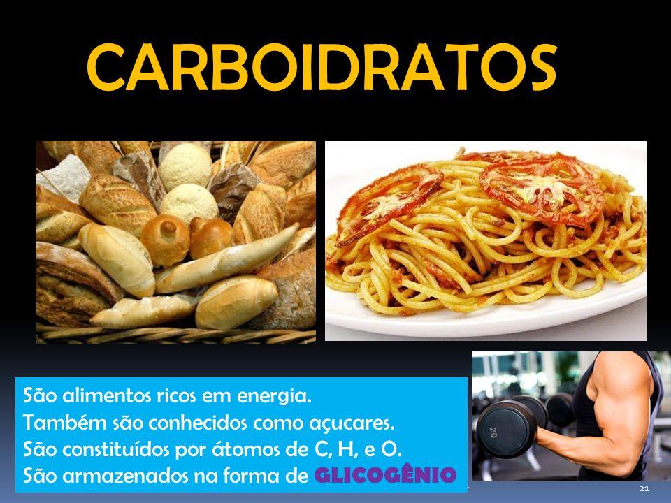 CARBOIDRATOS São alimentos ricos em energia.