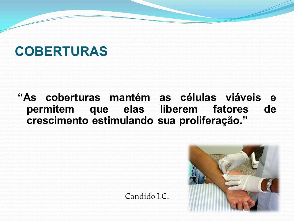 COBERTURAS As coberturas mantém as células viáveis e permitem que elas liberem fatores de crescimento estimulando sua proliferação.