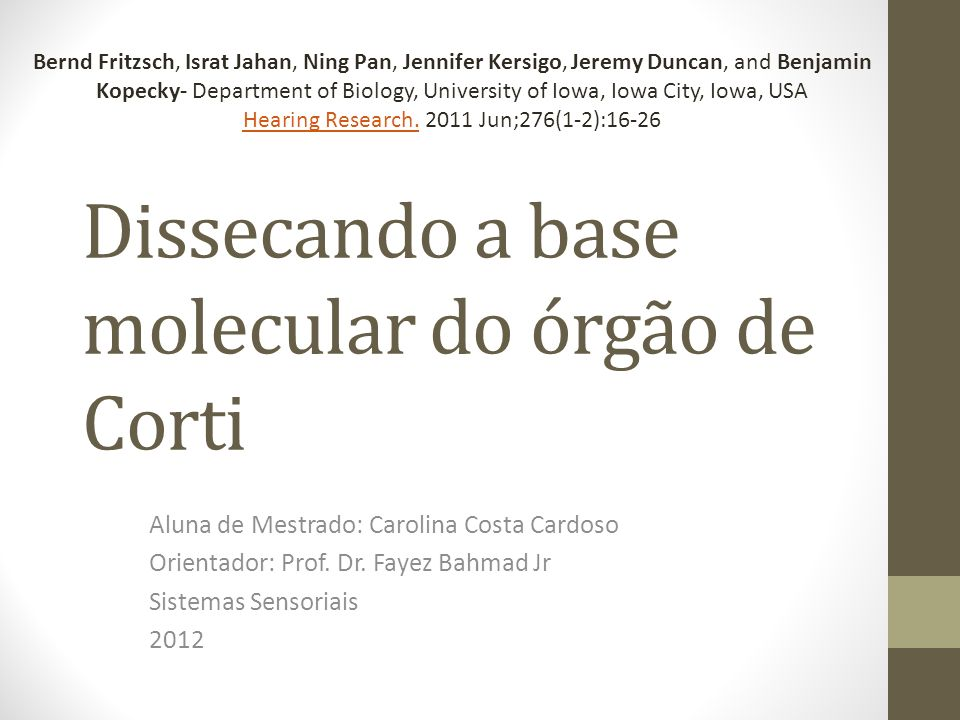 Dissecando a base molecular do órgão de Corti