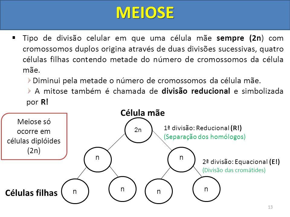 Meiose só ocorre em células diplóides (2n)