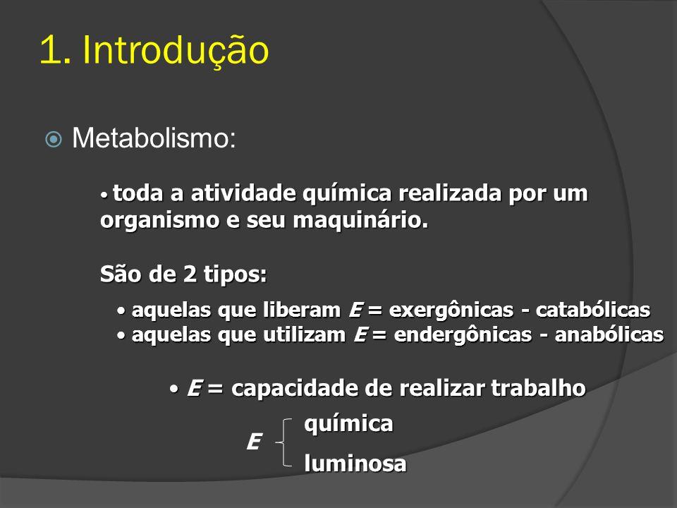1. Introdução Metabolismo: São de 2 tipos: