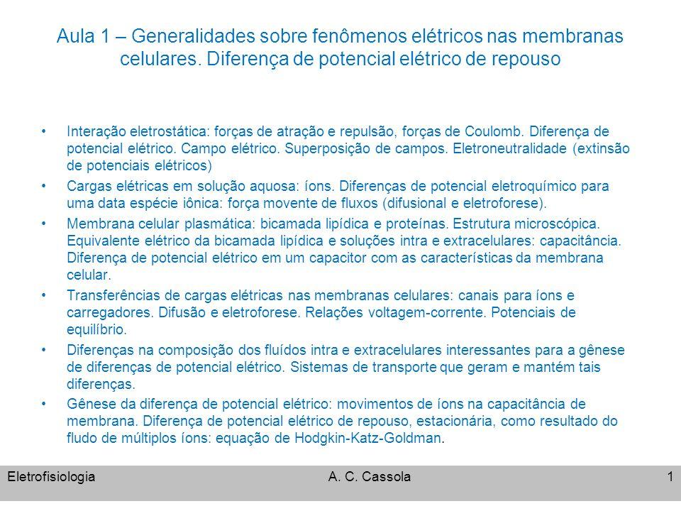 Aula 1 – Generalidades sobre fenômenos elétricos nas membranas celulares. Diferença de potencial elétrico de repouso