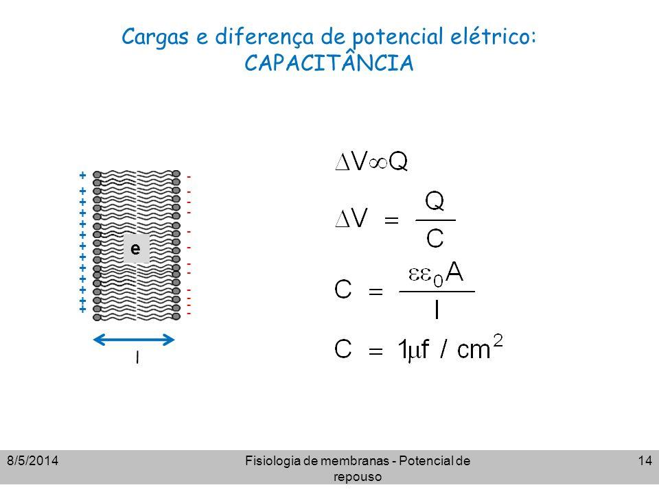 Cargas e diferença de potencial elétrico: CAPACITÂNCIA