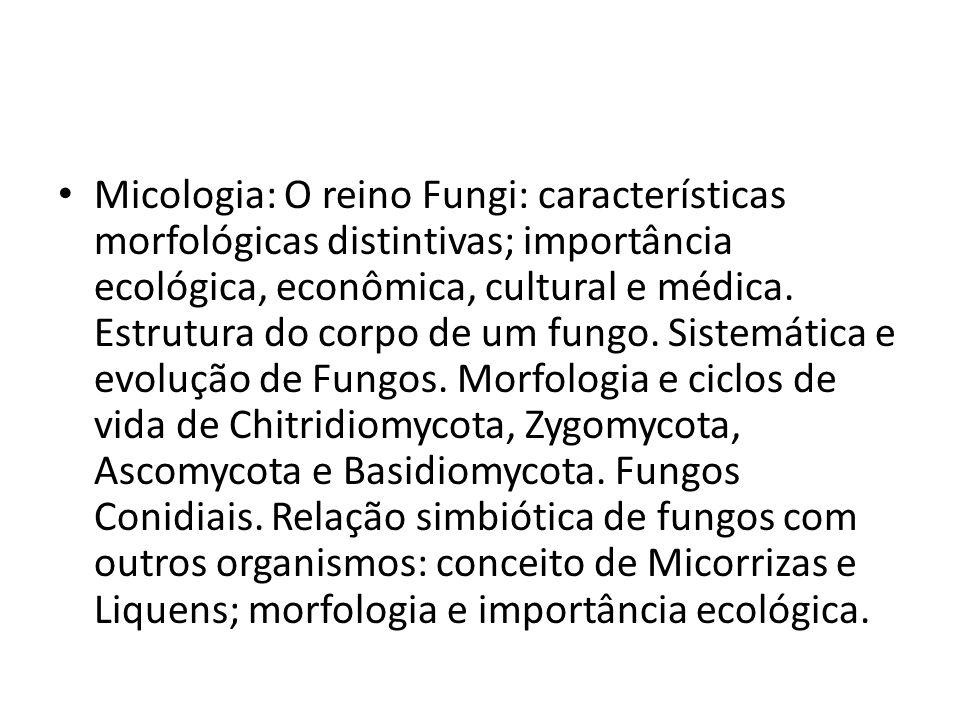Micologia: O reino Fungi: características morfológicas distintivas; importância ecológica, econômica, cultural e médica.