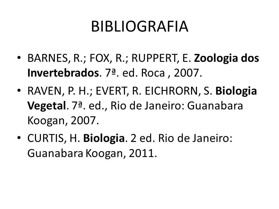 BIBLIOGRAFIA BARNES, R.; FOX, R.; RUPPERT, E. Zoologia dos Invertebrados. 7ª. ed. Roca , 2007.