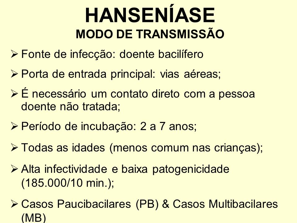 HANSENÍASE MODO DE TRANSMISSÃO