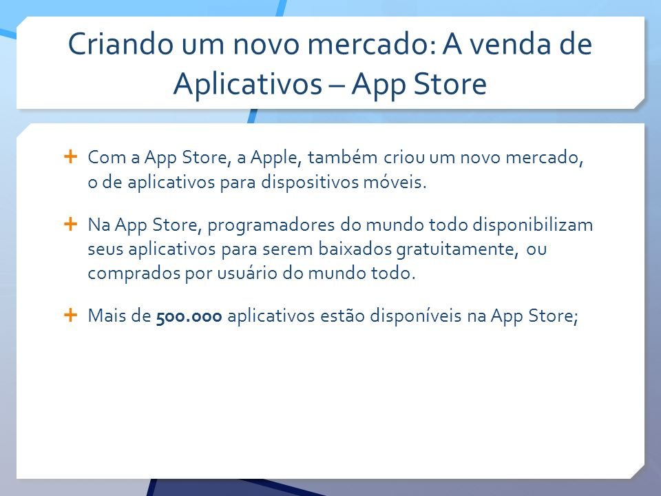 Criando um novo mercado: A venda de Aplicativos – App Store