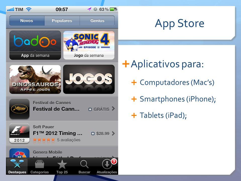 App Store Aplicativos para: Computadores (Mac's) Smartphones (iPhone);