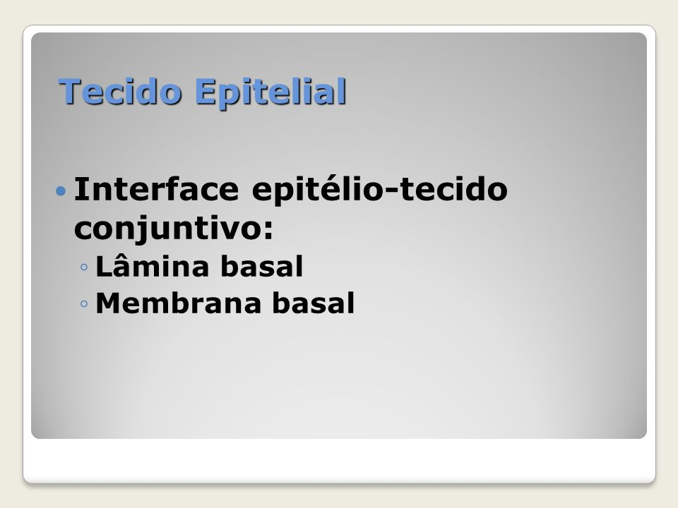 Tecido Epitelial Interface epitélio-tecido conjuntivo: Lâmina basal