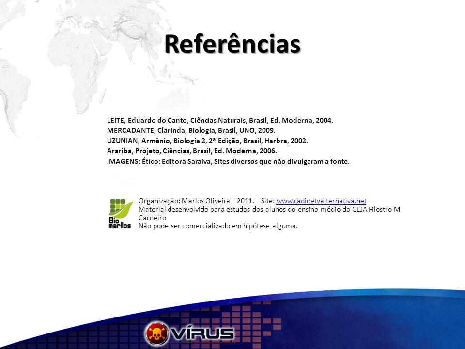 Referências LEITE, Eduardo do Canto, Ciências Naturais, Brasil, Ed. Moderna, 2004. MERCADANTE, Clarinda, Biologia, Brasil, UNO, 2009.