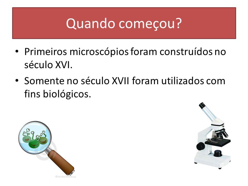 Quando começou. Primeiros microscópios foram construídos no século XVI.