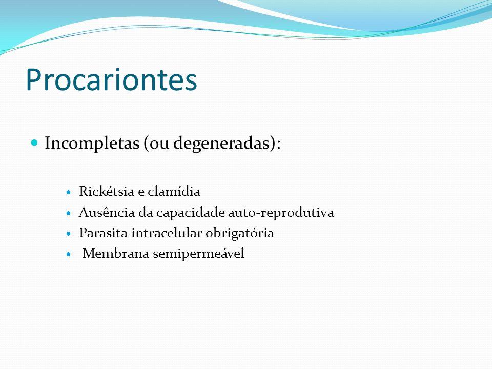 Procariontes Incompletas (ou degeneradas): Rickétsia e clamídia