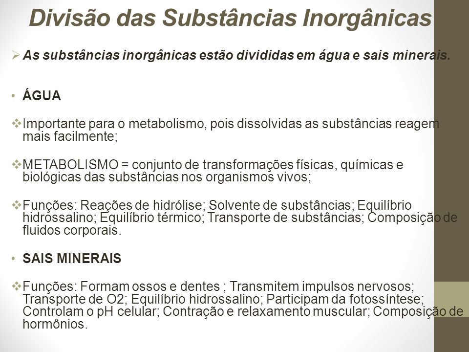 Divisão das Substâncias Inorgânicas