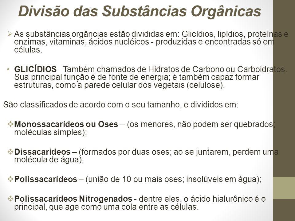 Divisão das Substâncias Orgânicas