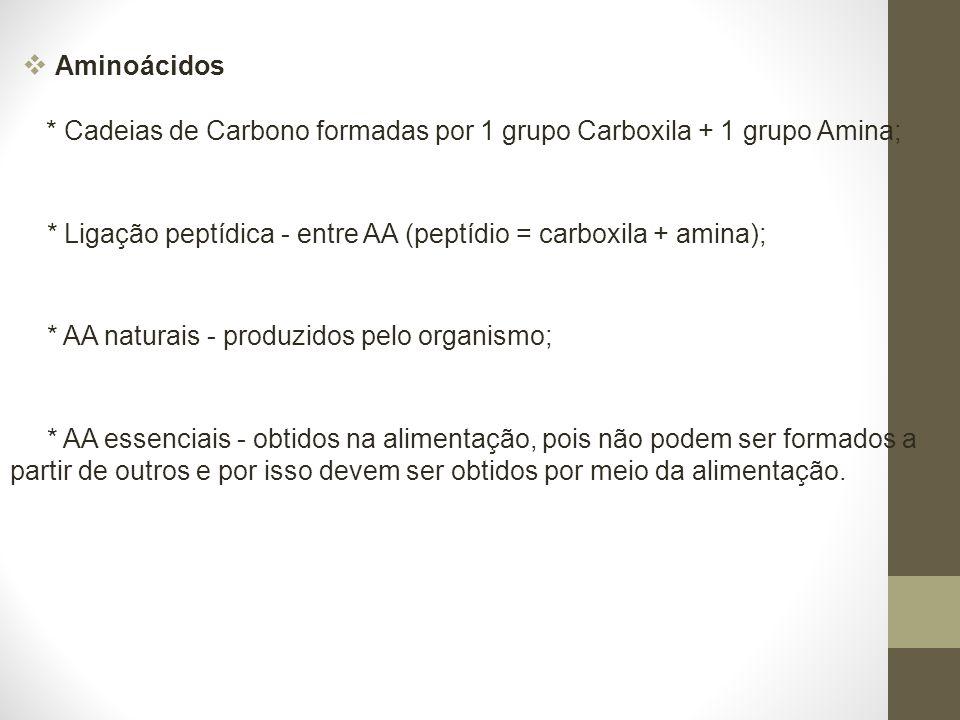Aminoácidos * Cadeias de Carbono formadas por 1 grupo Carboxila + 1 grupo Amina;