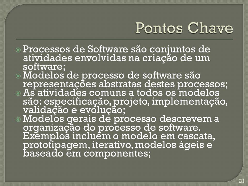 Pontos Chave Processos de Software são conjuntos de atividades envolvidas na criação de um software;