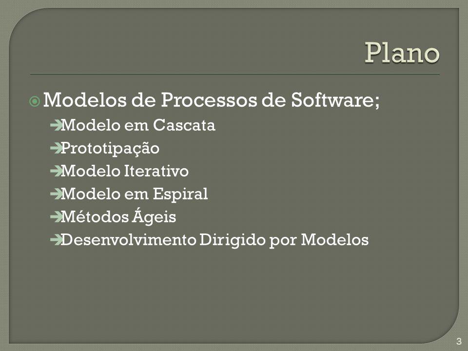 Plano Modelos de Processos de Software; Modelo em Cascata Prototipação
