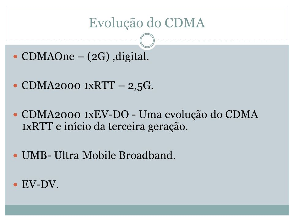 Evolução do CDMA CDMAOne – (2G) ,digital. CDMA2000 1xRTT – 2,5G.